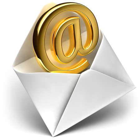 Email: Die Metapher der E-mail - kommt die goldenen Zeichen-E-mail aus der ge�ffneten Umschlag  Lizenzfreie Bilder