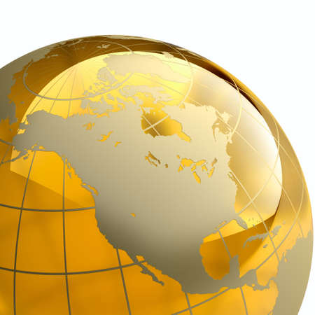 Amber globe with golden continents on white background. Detail