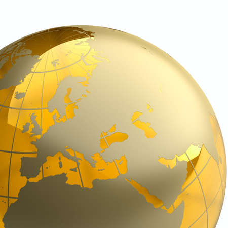 Amber globe with golden continents on white background. Detail Stock Photo - 6066264