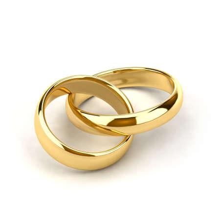 interconnected: Dos anillos de boda, como eslabones de la cadena est�n interconectadas Foto de archivo