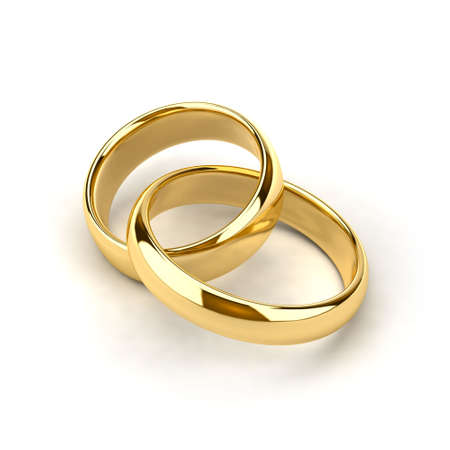 Two wedding rings, like links in the chain are interconnected Stock Photo