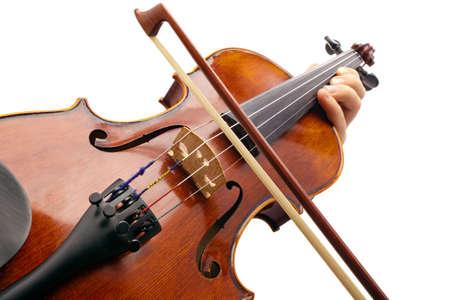 violist: Foto viool gemaakt met de camera hoek weergave violist