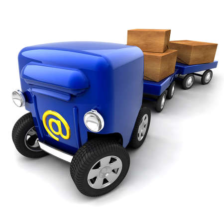 The metaphor of mobile e-mail - the mail box on wheels and bogies for parcels and luggage Stock Photo - 6066321
