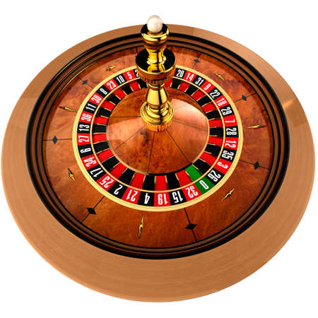 roulette wheel: Roulette, built in three-dimensional program, on a white background