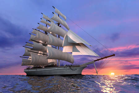 reverberation: Sailing ship on the background of the setting sun in clear calm sea