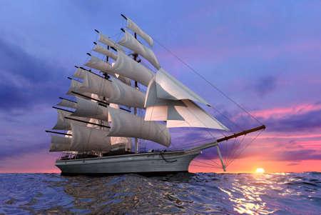 Wypłynięcia statku na tle wystawiające słońce wyczyść spokojnym morzu Zdjęcie Seryjne