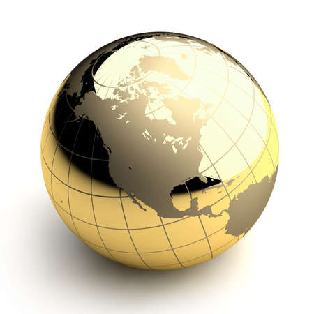 meridian: Metal globe of the Earth with a golden hue as it were photographed in the studio. 3D-graphics Stock Photo