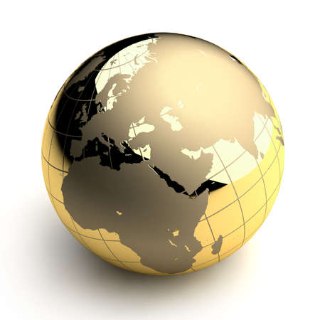 orb: Metal globe of the Earth with a golden hue as it were photographed in the studio. 3D-graphics Stock Photo