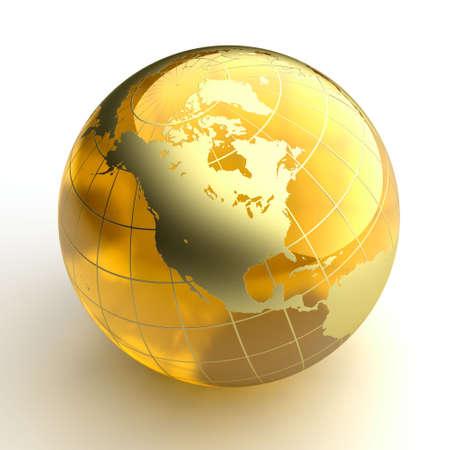 ámbar: Un modelo de la miniatura de la tierra en forma de una bola hecha de �mbar, como los continentes con una capa de oro Foto de archivo