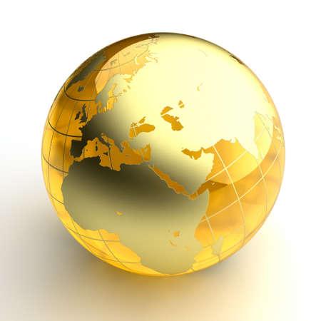 ámbar: Un modelo en miniatura de la tierra en forma de una bola hecha de �mbar, como los continentes con una capa de oro.