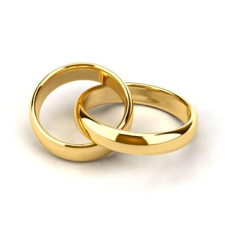 anniversario di matrimonio: Due anelli di nozze, come i collegamenti nella catena sono interconnessi