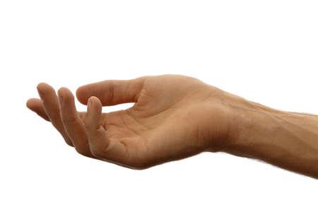 dar un regalo: La mano como si celebrar algo aislado en un fondo blanco