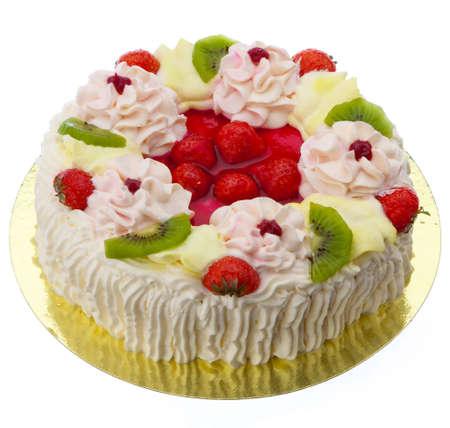 escarapelas: Un delicioso pastel de crema con fresas y cremas de rosetas  Foto de archivo