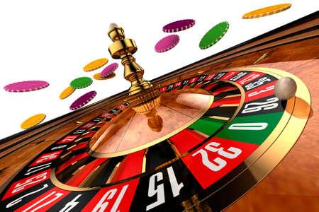 ruleta de casino: Ruleta, construida en programa tridimensional, sobre un fondo blanco