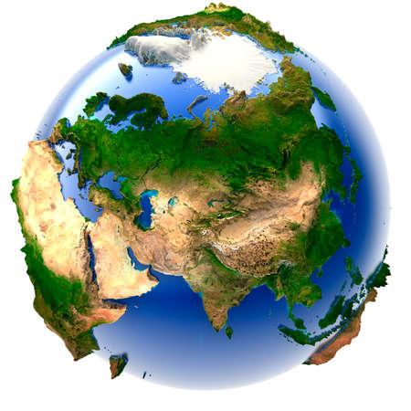 oriente: Modelo 3D del planeta con un exagerada relieve vertical
