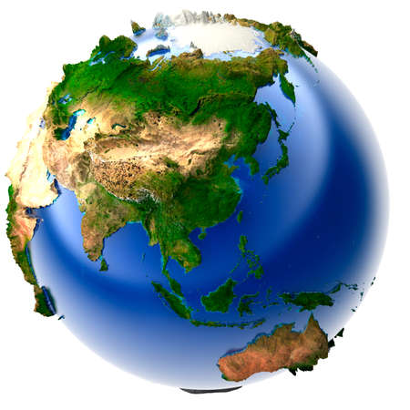 geodesy: 3D model of the globe with an exaggerated vertical relief Stock Photo