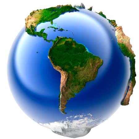 3D-model van de wereld met een overdreven verticale vrijstelling