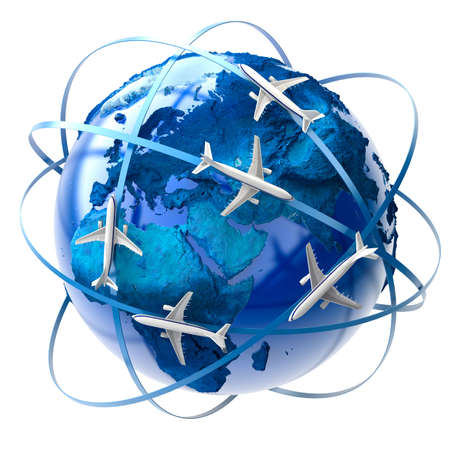 maps globes: The metaphor of international air travel around the globe Stock Photo