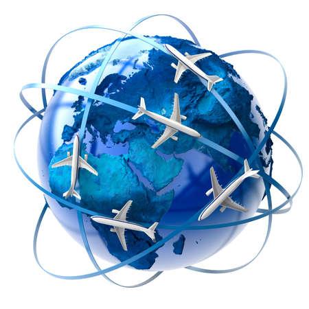 west europe: The metaphor of international air travel around the globe Stock Photo