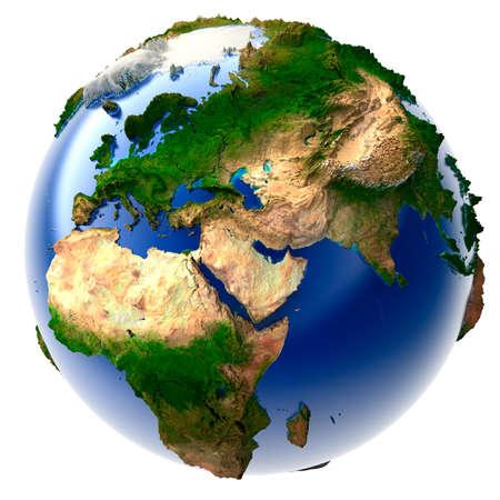 globo terraqueo: Modelo 3D del planeta con un exagerada relieve vertical