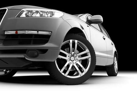 car tire: Dynamic view of the modern car, front view Stock Photo