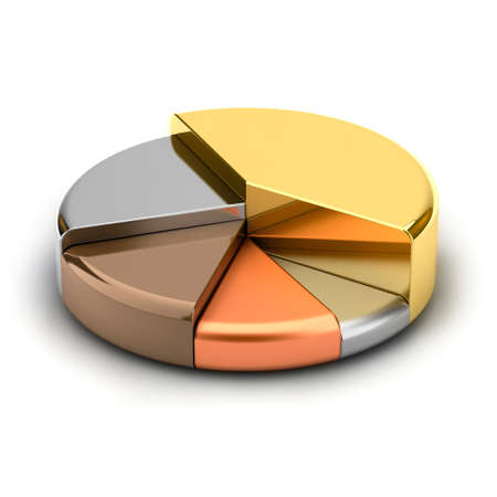 info chart: Pie chart, made of different metals - gold, silver, bronze, copper, lead Stock Photo