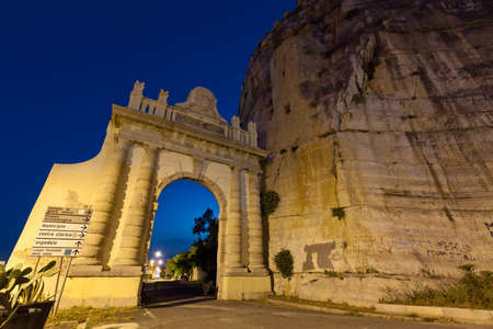 trojans: Naples gate built by Emperor Trojans on the Appian Way in the Italian town of Terracina Stock Photo