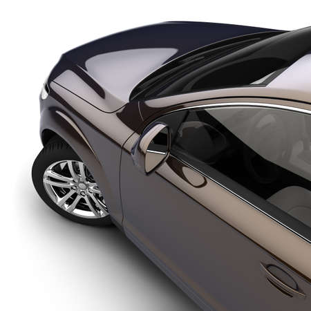 car side: Dynamic view of the modern car from the drivers door, just above, on a white background Stock Photo