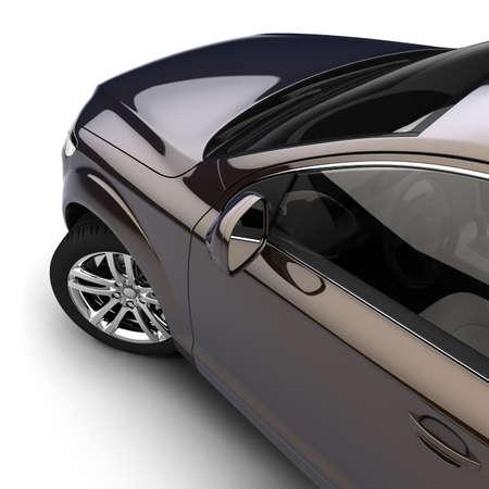 asiento coche: Vista din�mica del coche moderno desde la puerta del conductor, justo por encima, sobre un fondo blanco