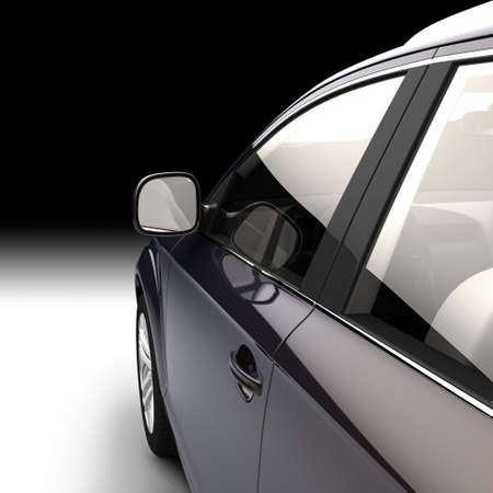 auto glass: Detail of a modern car in a studio in the direction of motion from the side of the drivers door Stock Photo