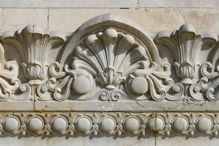 stone carvings: Fragment of ornate relief. Rome, Italy Stock Photo