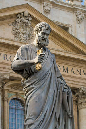 christendom: Sacred Peters statue in Vatican.Rome, Italy. Detail Stock Photo