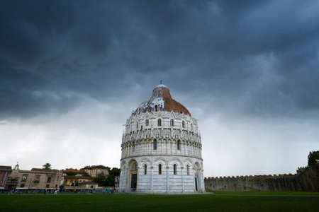 leaden: Heavy leaden cloud over an architectural monument