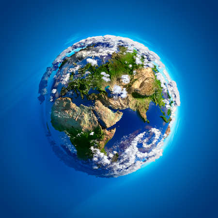 Real Earth with oceans, mountains and the atmosphere in the Sunlight. Stock Photo - 7846533