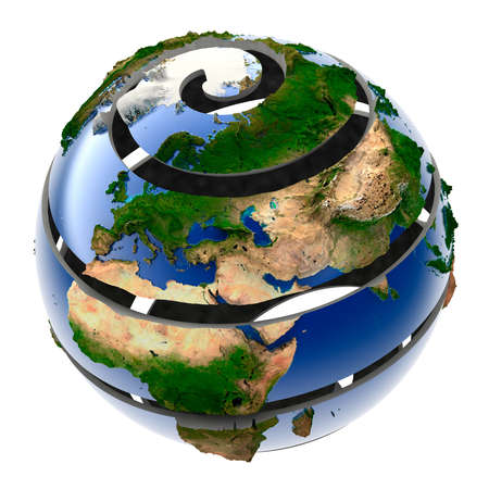 geodesy: The metaphor of the planet Earth, which is formed from a spiral Stock Photo