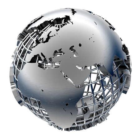 terrestre: Globe sollievo continentale sulla griglia cromata di meridiani e i paralleli in metallo