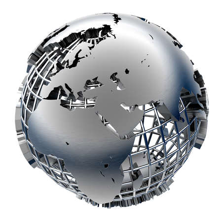 globe grid: Metal Globe relief mainland on chrome grid of meridians and parallels