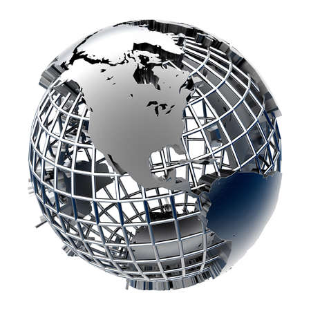 Metal Globe relief mainland on chrome grid of meridians and parallels photo