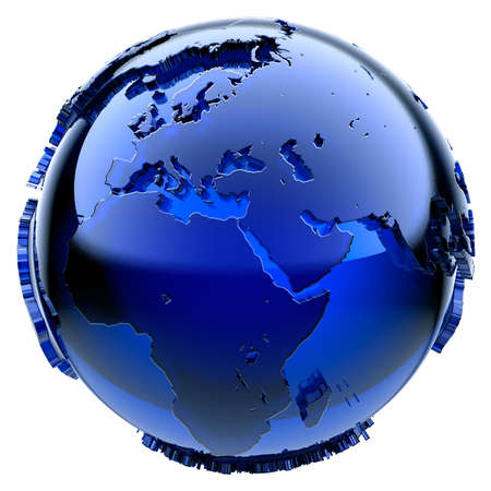 Blue glass globe with frosted continents a little, a little stand out from the water surface Stock Photo - 7884389
