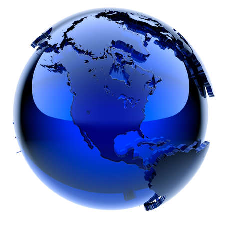 Blue glass globe with frosted continents a little, a little stand out from the water surface