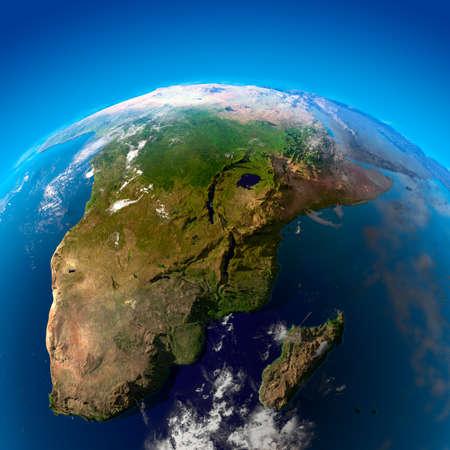 南アフリカ共和国、ナミビア、ボツワナ、ジンバブエ、モザンビーク、マダガスカル。衛星からの眺め
