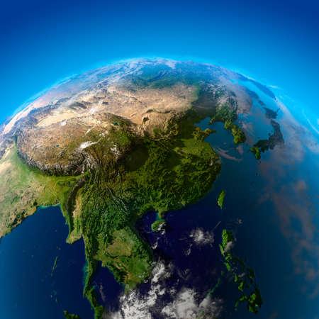 atmosfere: India, Cina, Mongolia e Giappone. La vista dai satelliti Archivio Fotografico