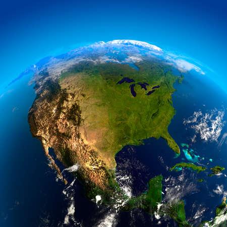 México, Estados Unidos y Canadá. La vista de los satélites  Foto de archivo