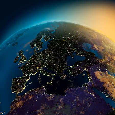 Nacht visie van Europa van de satelliet naar de gloeiende lichten van steden op de zons opgang uit het Oosten Stockfoto