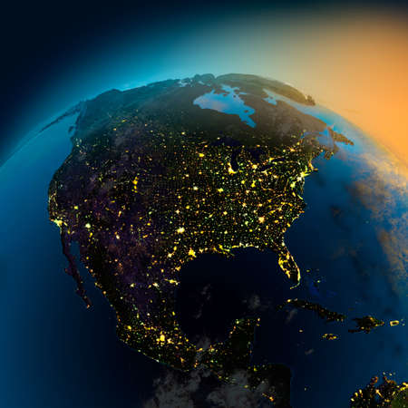 to the north: Night view of North America from the satellite to the glowing lights of towns on the sunrise from the east Stock Photo