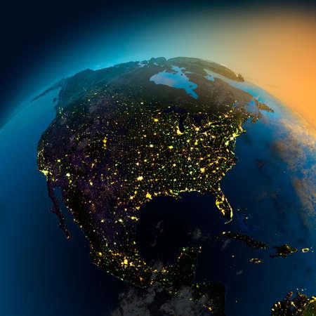 Vista de noche de América del Norte desde el satélite a las brillantes luces de las ciudades en la salida del sol desde el este