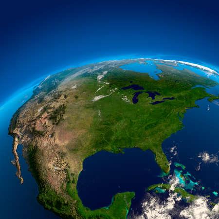 Mexico, Verenigde Staten en Canada. De weergave van de satellieten
