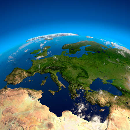 Spain, France, Germany, Italy, Greece and other European countries. The view from the satellites Stock Photo - 7977165