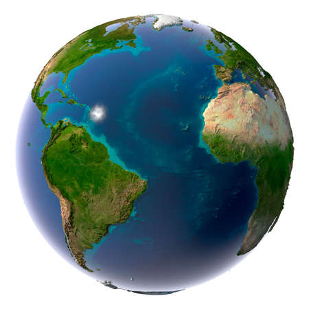 sunshine state: Earth with translucent water in the oceans and the detailed topography of the continents