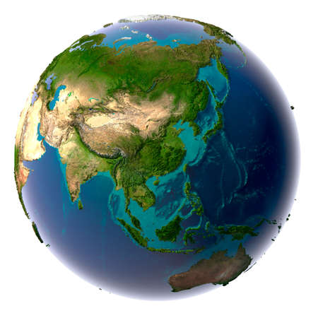 south space: Earth with translucent water in the oceans and the detailed topography of the continents
